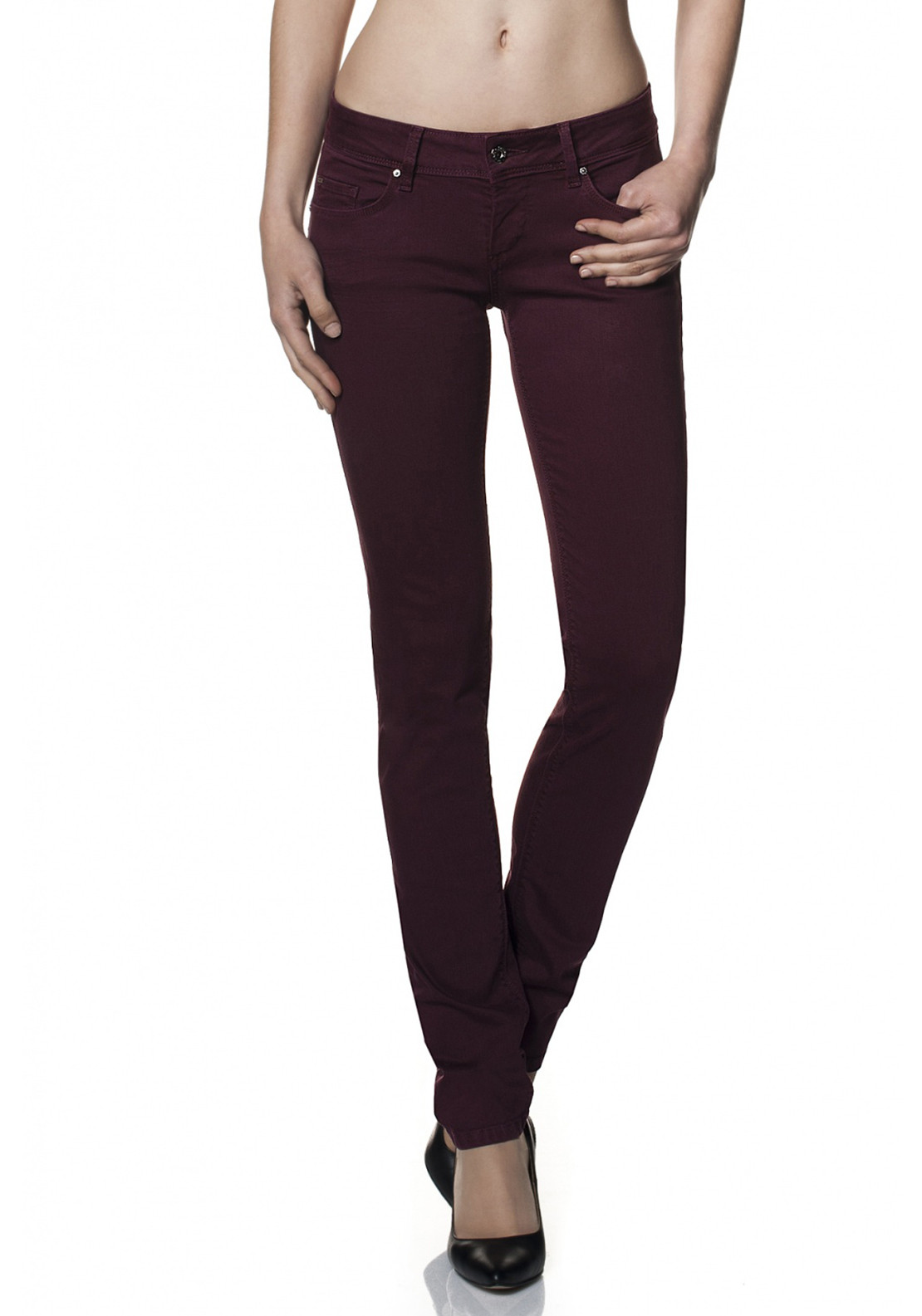 Salsa Wonder Push Up Slim Twill Jeans, Burgundy