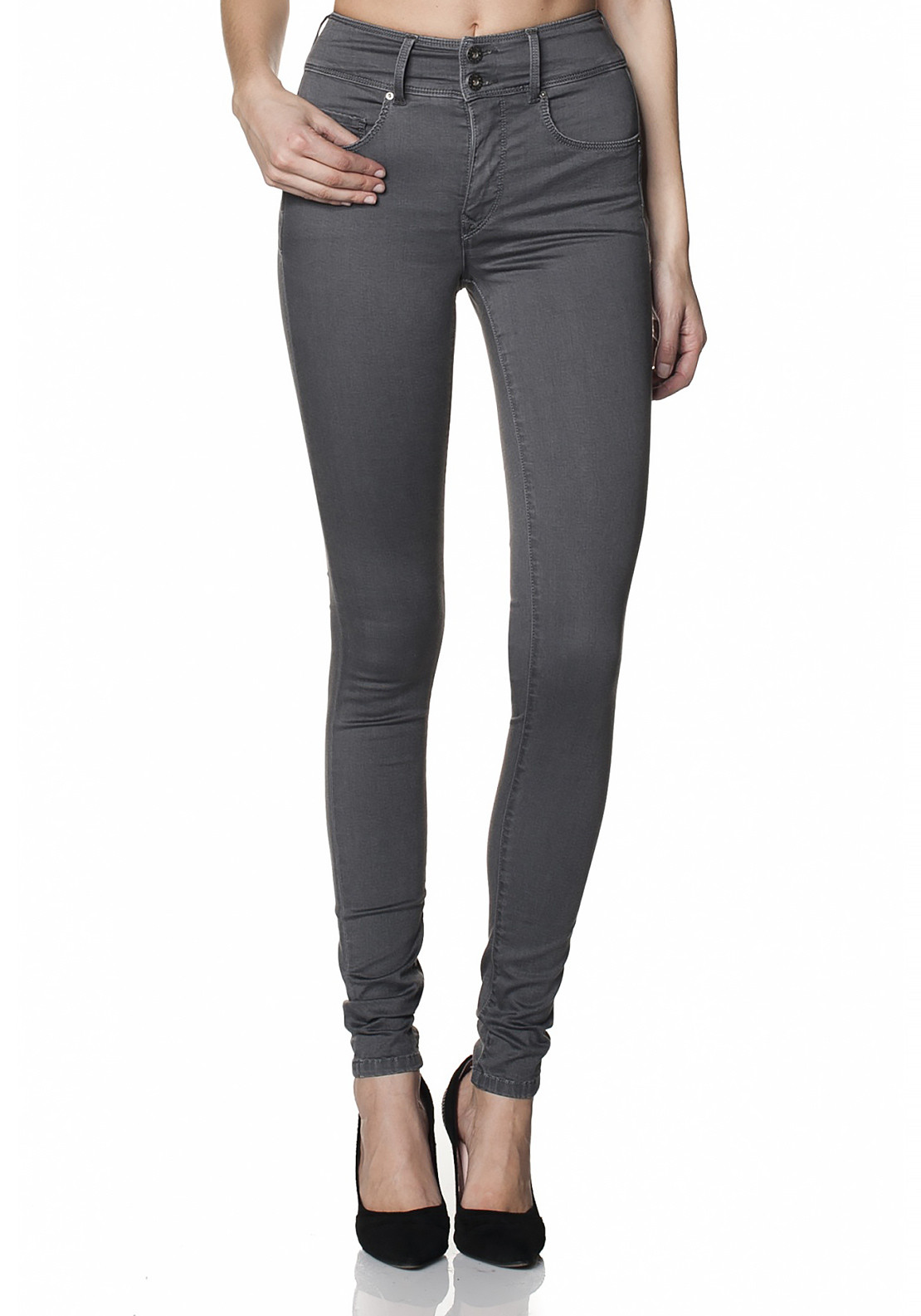 Salsa Secret Push In High Waist Skinny Leg Jeans, Grey