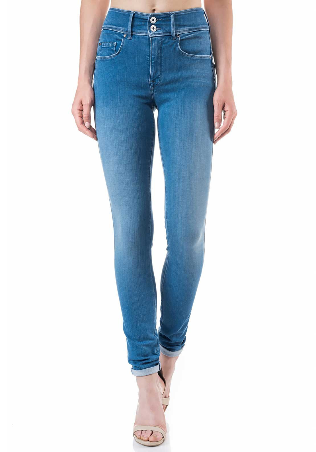 Salsa Secret Push in High Waist Soft Touch Skinny Leg Jeans, Light Blue Denim