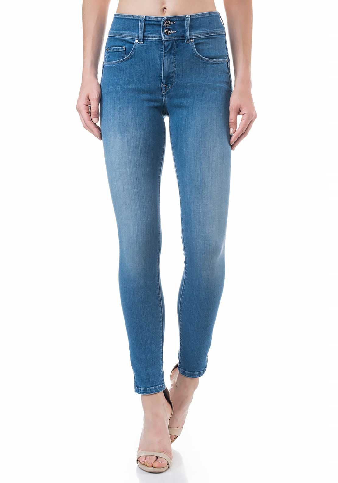 Salsa Secret Push in High Waist Capri Skinny Jeans, Light Blue Denim