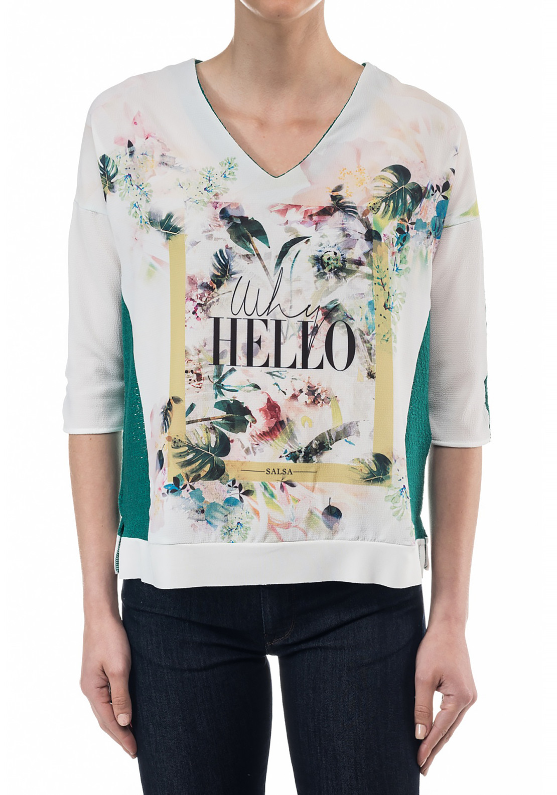 Salsa Austria Cropped Sleeve Hello Print V neck Top, Green and White