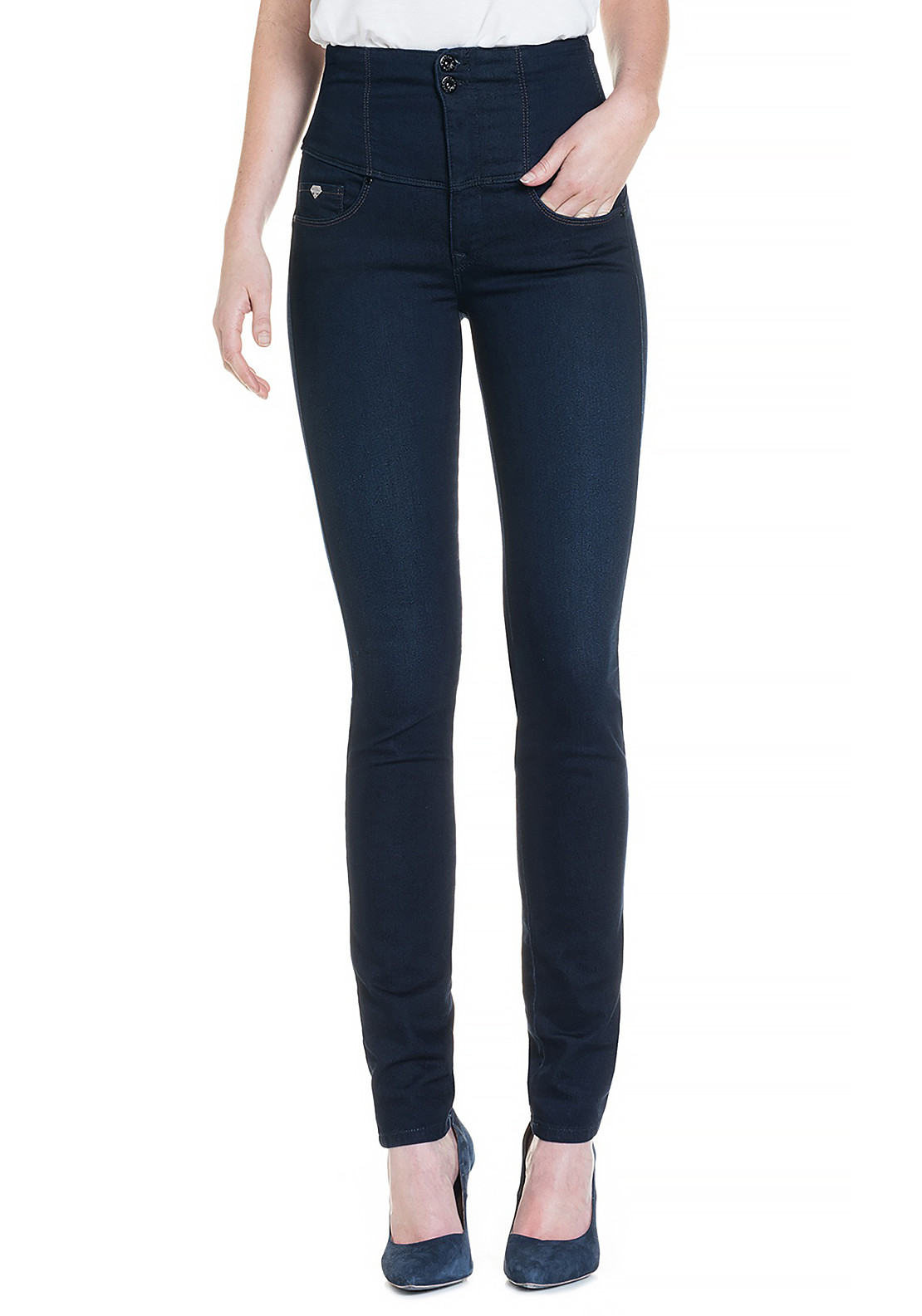 Salsa Diva High Waist Slimming Skinny Jeans, Dark Blue Denim
