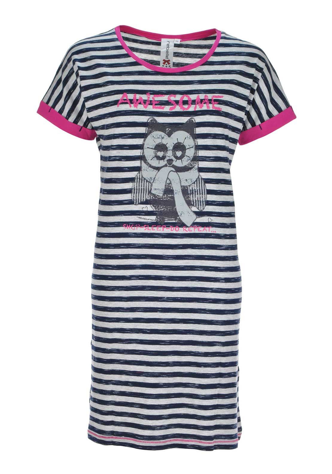 Rebelle Striped Short Sleeve Night Dress, Grey and Navy