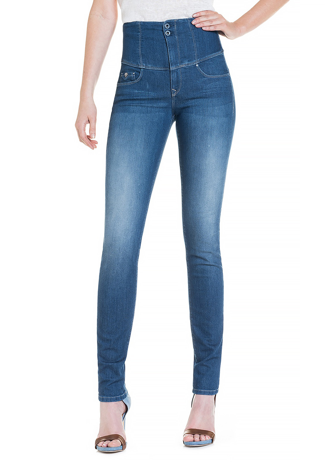 Salsa Diva High Waist Slimming Skinny Jeans, Medium Blue Denim
