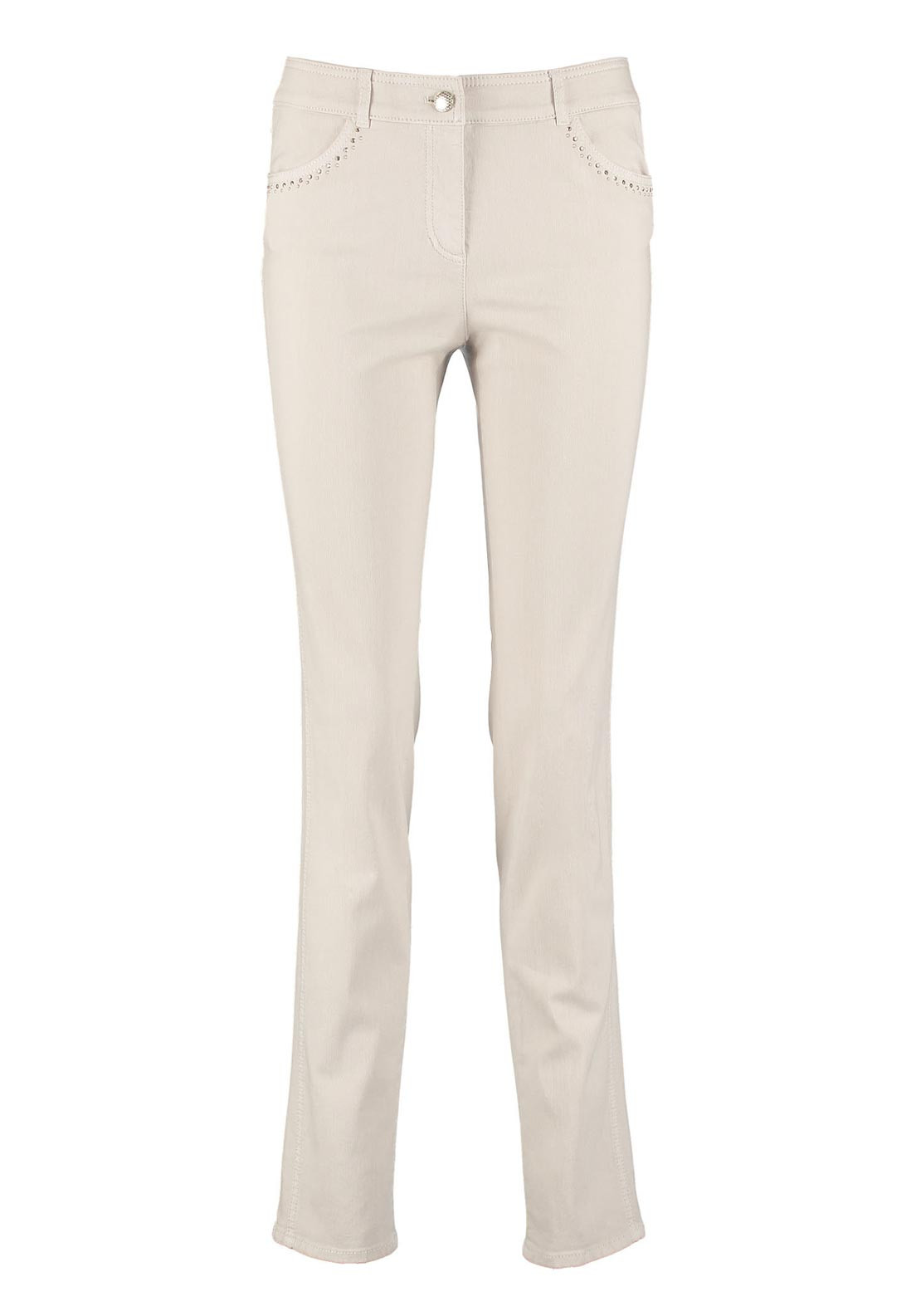 Gerry Weber Gemstone Embellished Straight Leg Jeans, Beige