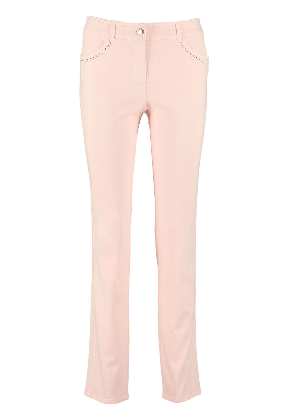Gerry Weber Gemstone Embellished Straight Leg Jeans, Pale Pink