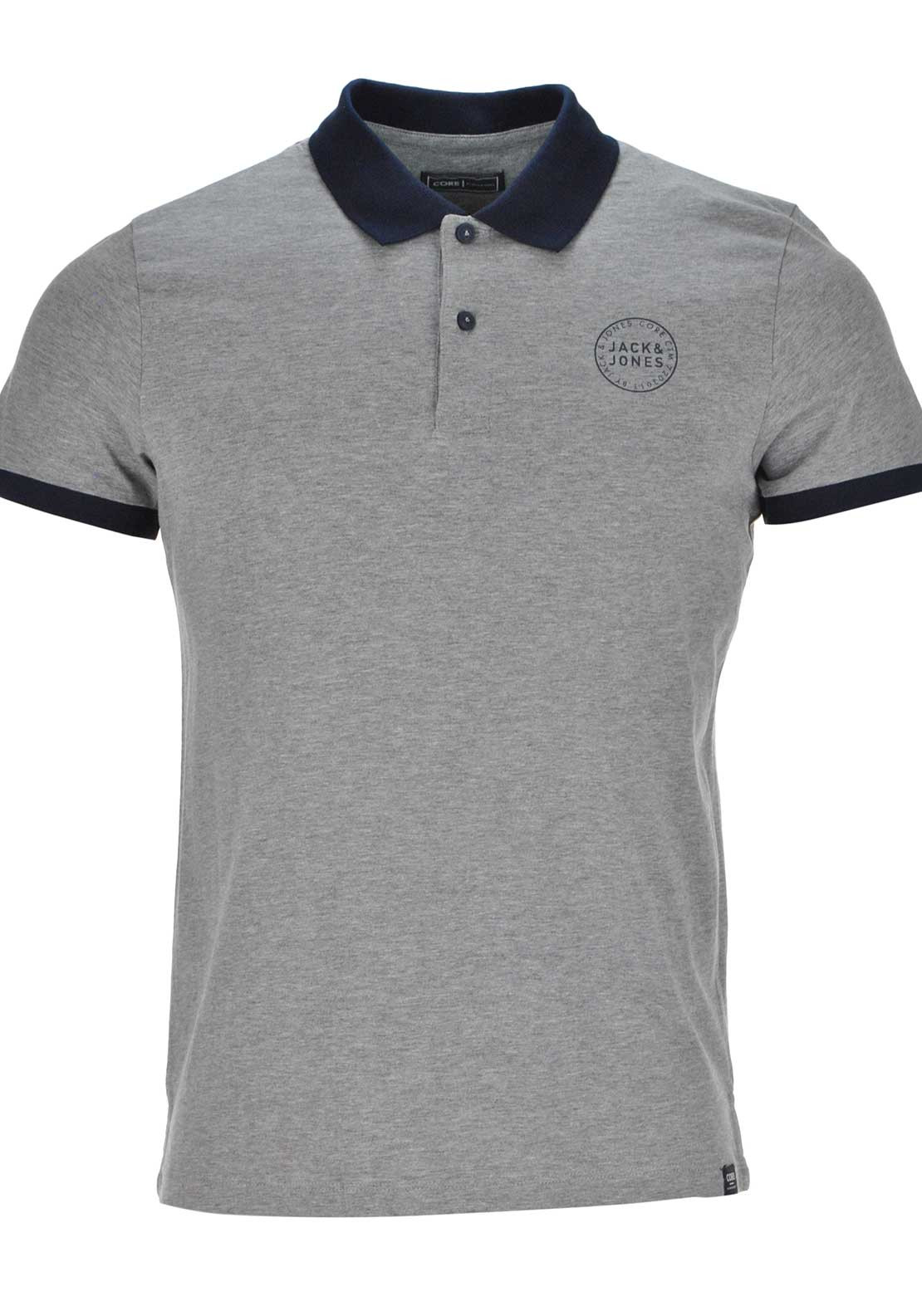 Jack & Jones Core Sure Short Sleeve Polo Shirt, Grey Melange