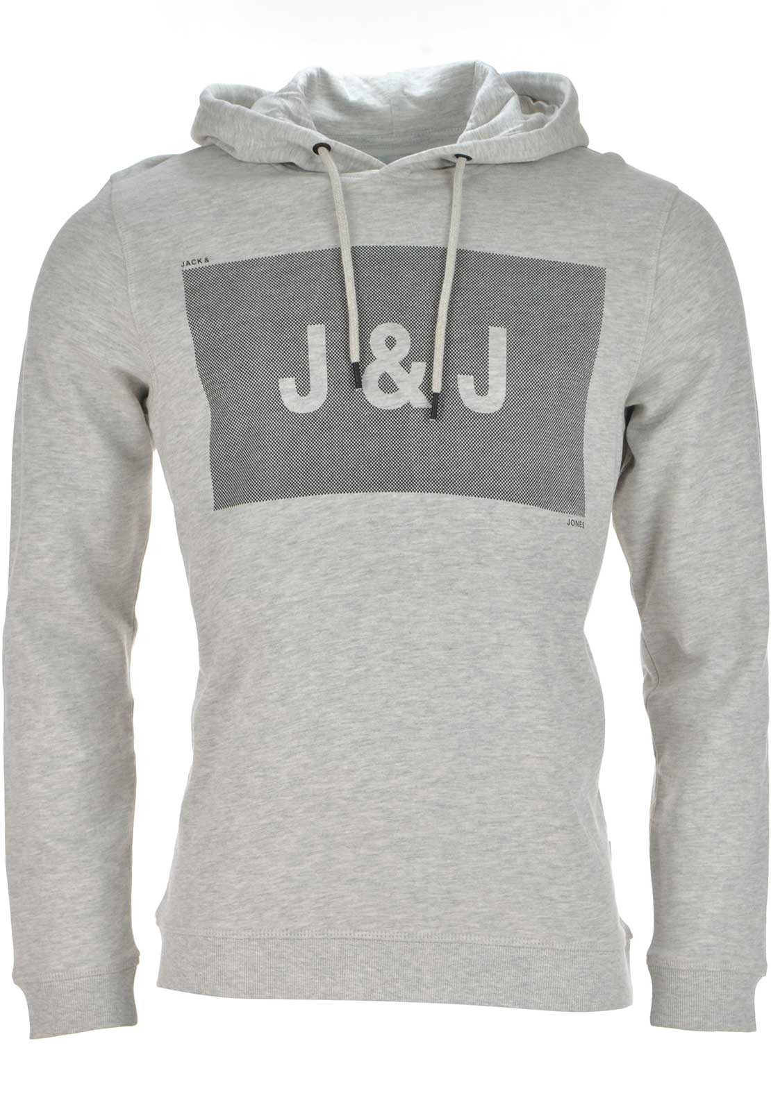Jack & Jones Take Graphic Print Hoodie Jumper, Pale Grey