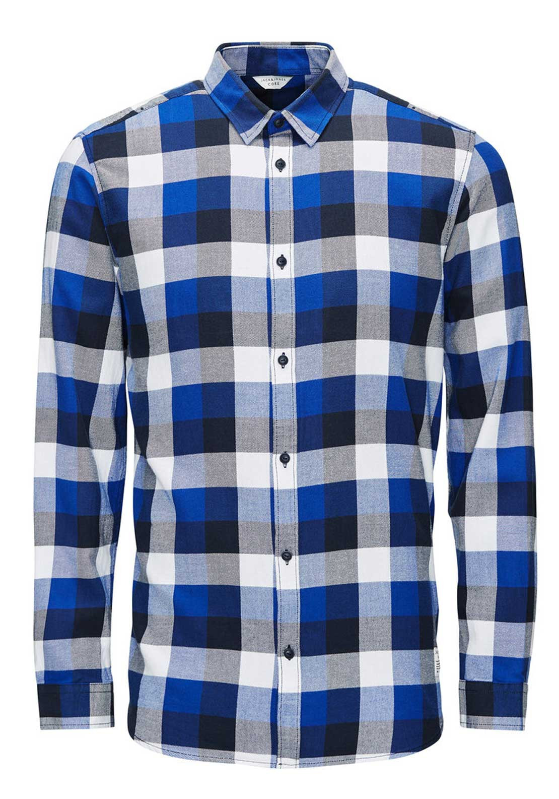 Jack & Jones Gavin Checked Long Sleeve Shirt, Navy Blazer