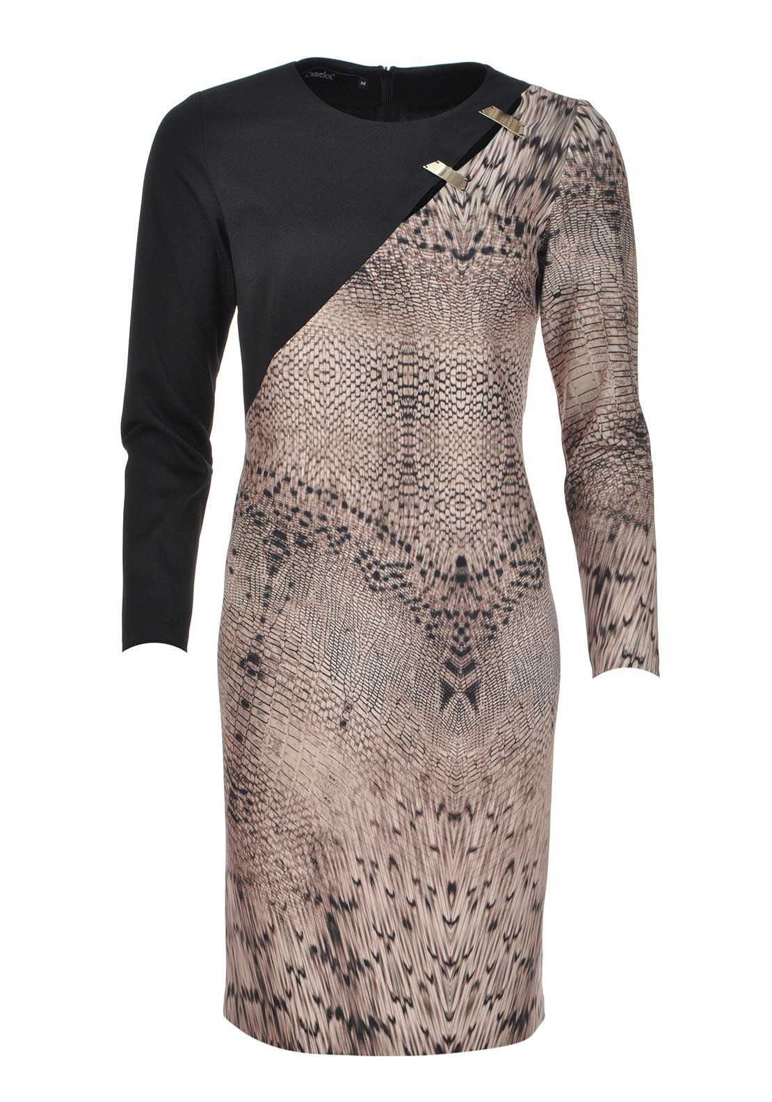 Camelot Reptile Print Long Sleeve Scuba Dress, Beige Multi