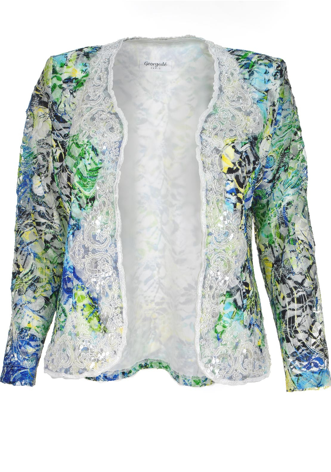 Georgede Embellished Printed Lace Jacket, Multi-Coloured