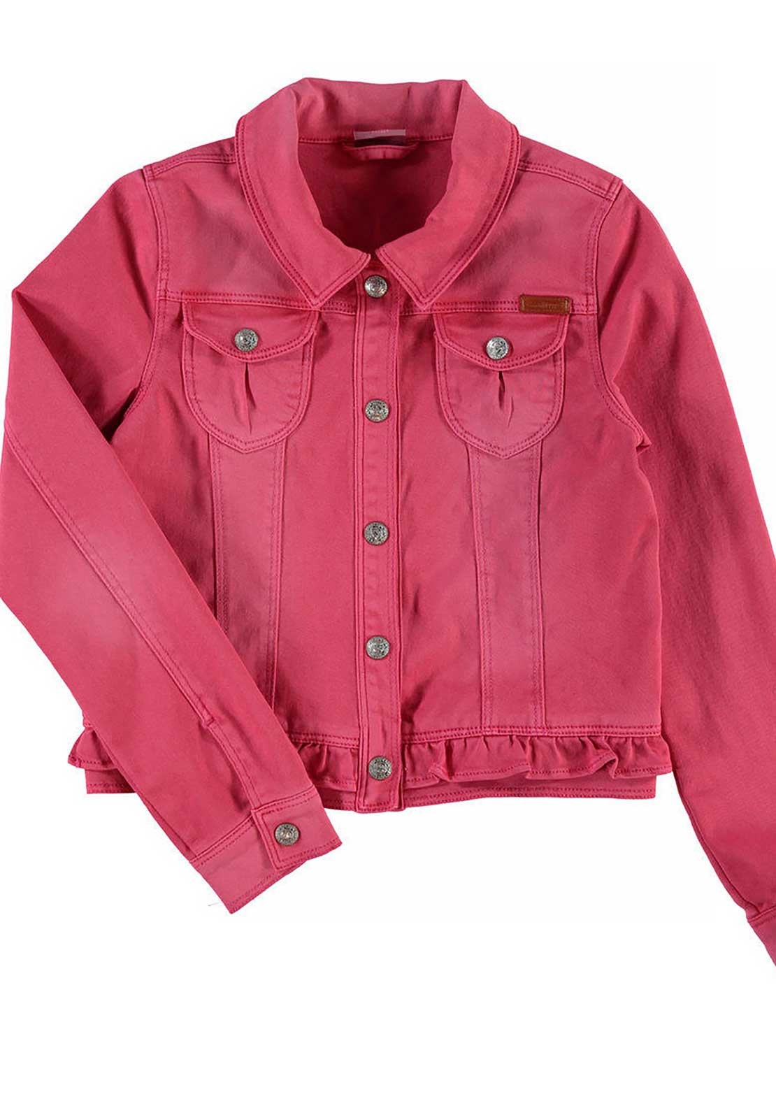 Name It Girls Frilled Panel Denim Jacket, Pink