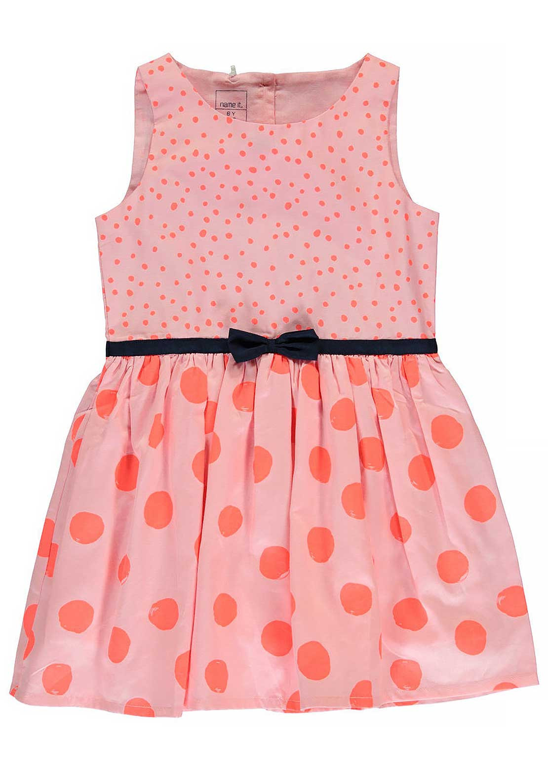 Name It Girls Polka Dot Bow Dress, Almond Blossom