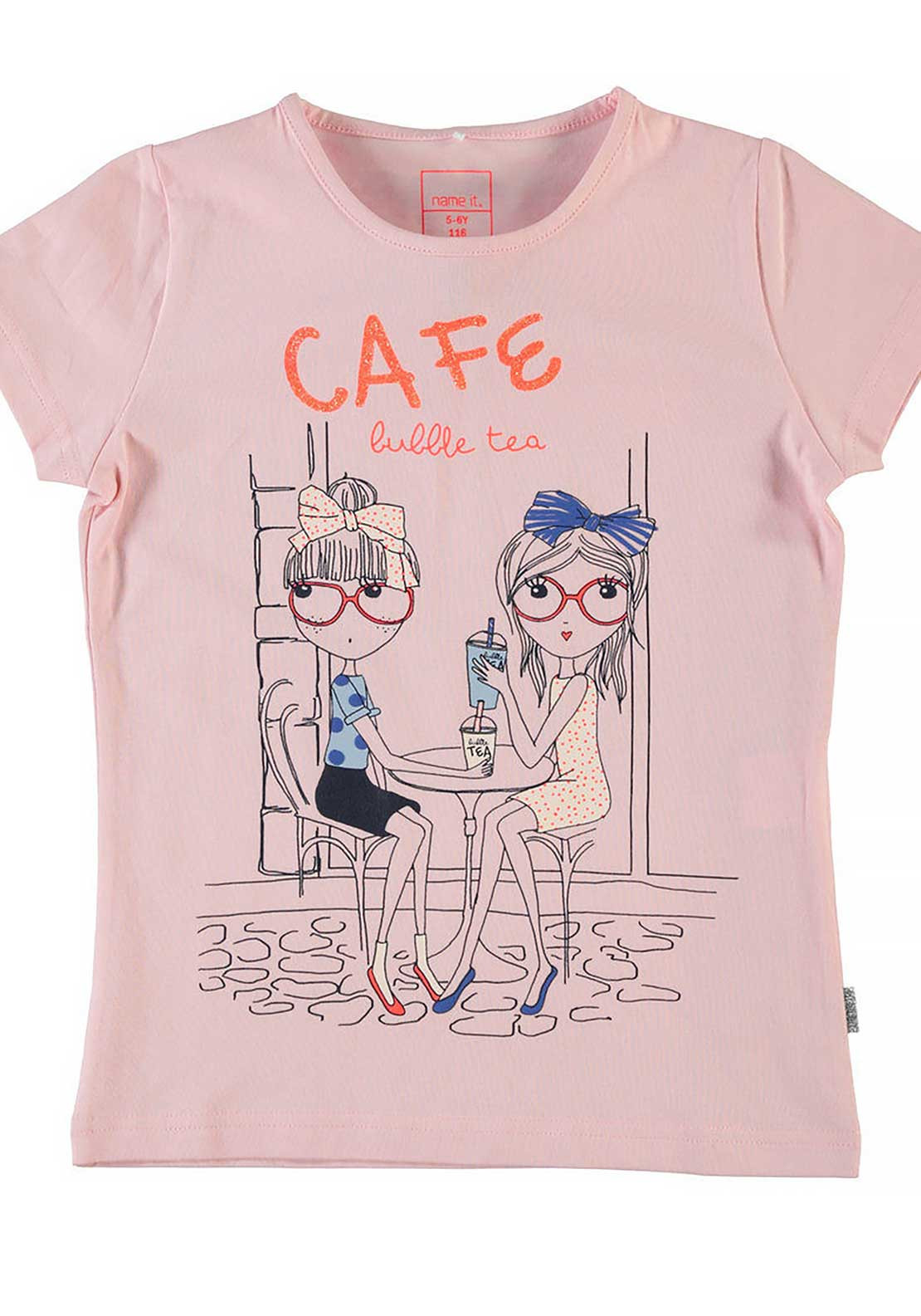 Name It Girls Café Print Top, Almond Blossom