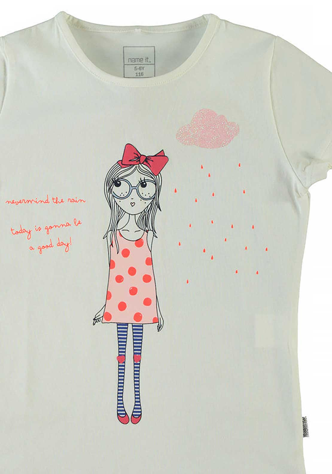 Name It Girls Graphic Print Top, Cloud Dancer