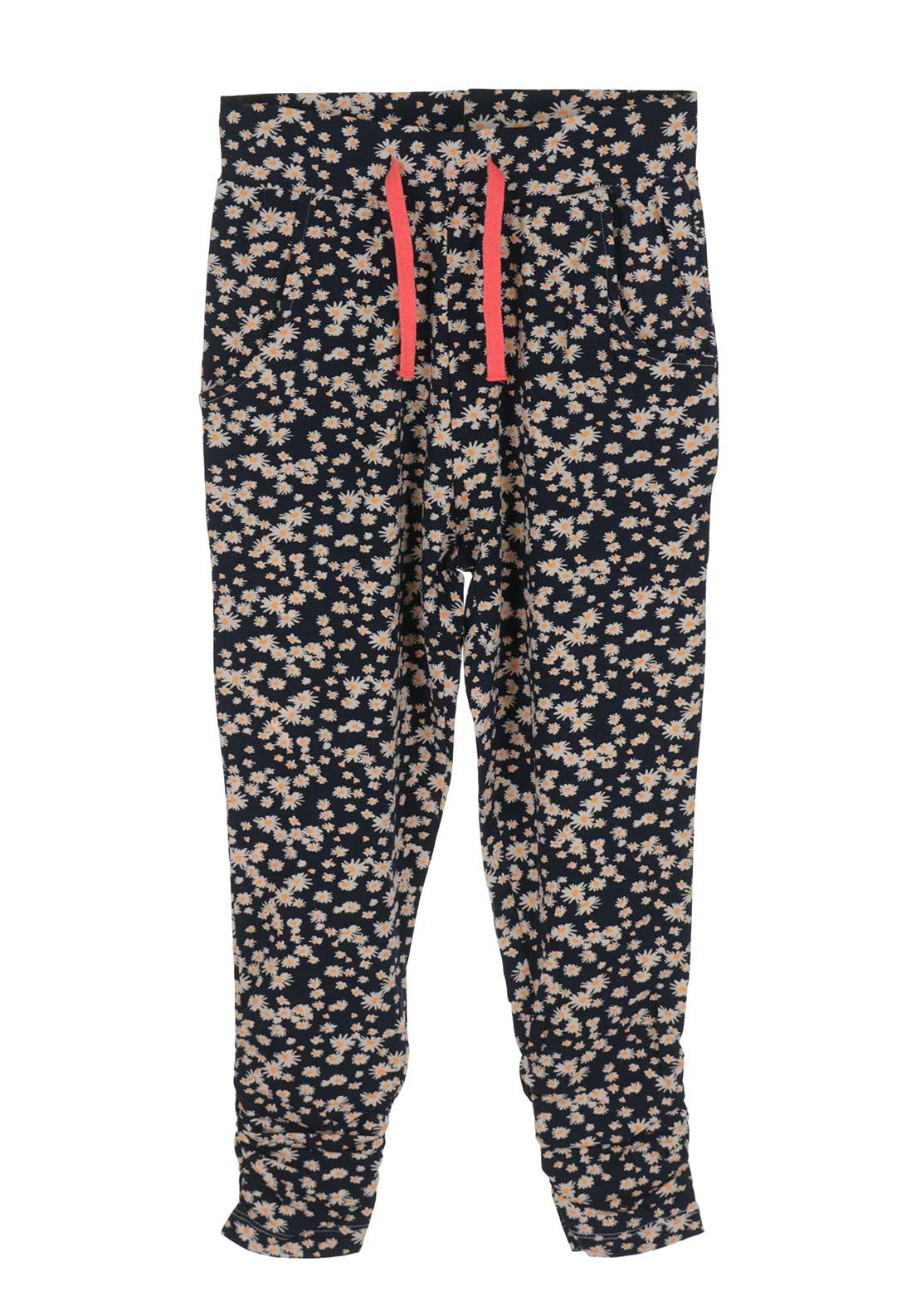 Name It Girls Kerry Flower Jersey Trousers, Navy and White