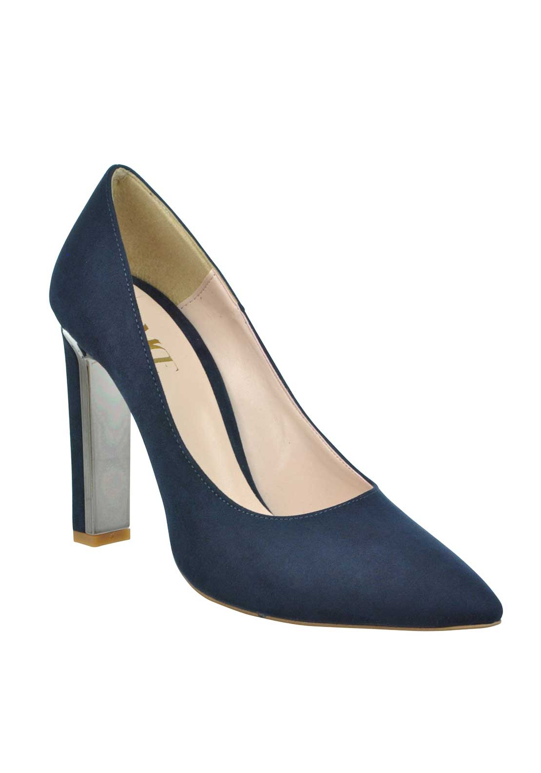 McElhinney's Faux Suede pointed Toe Chunky Heeled Shoes, Navy