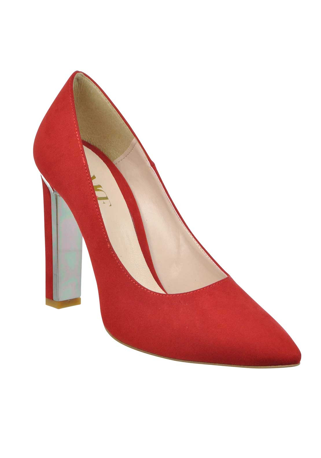 McElhinney's Faux Suede pointed Toe Chunky Heeled Shoes, Red