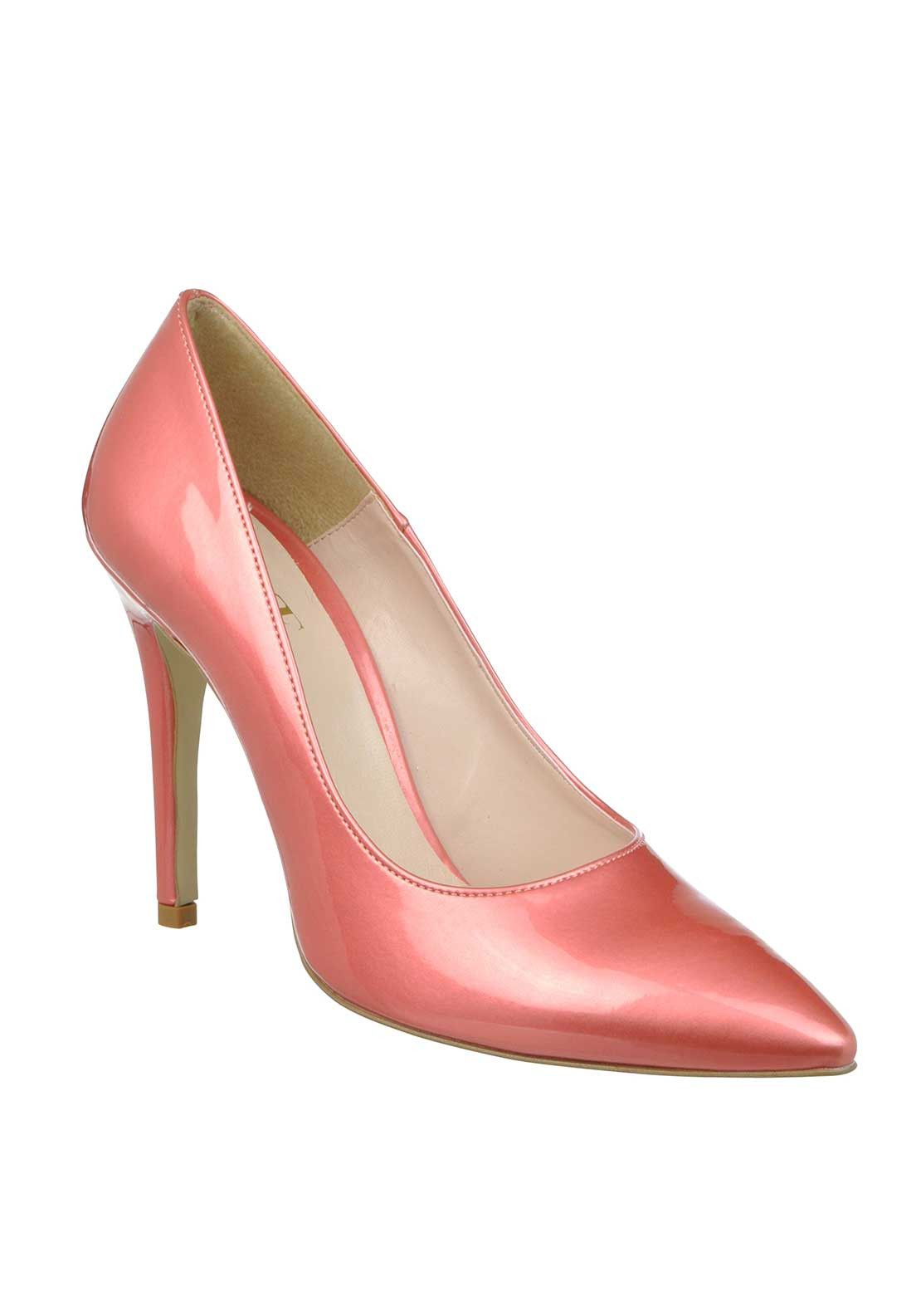 McElhinney's Patent Pointed Toe Heeled Shoes, Pink