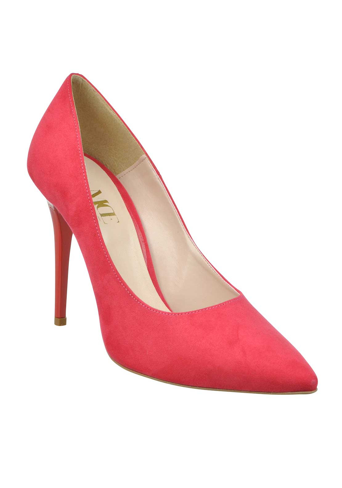 McElhinney's Faux Suede Pointed Toe Heeled Shoes, Pink