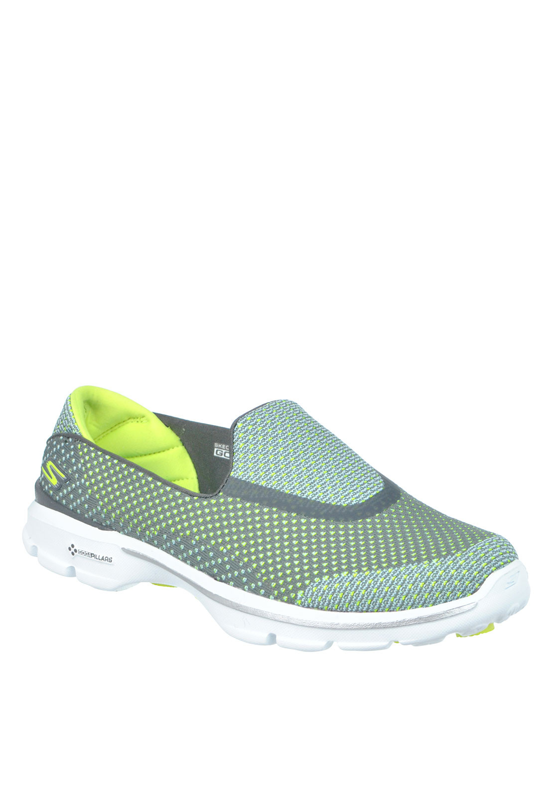 Skechers Womens Go Walk 3 Slip On Trainers, Grey and Green