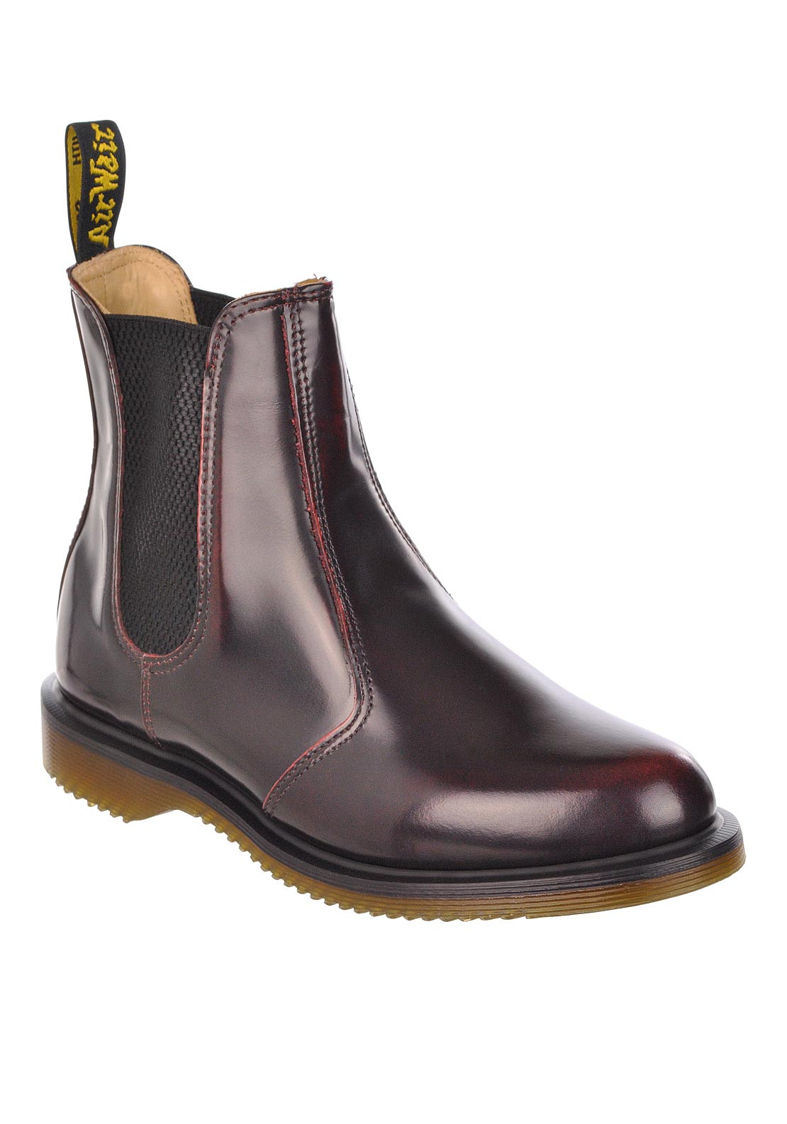 Dr. Martens Womens Air Wair Leather Ankle Boot, Cherry Red