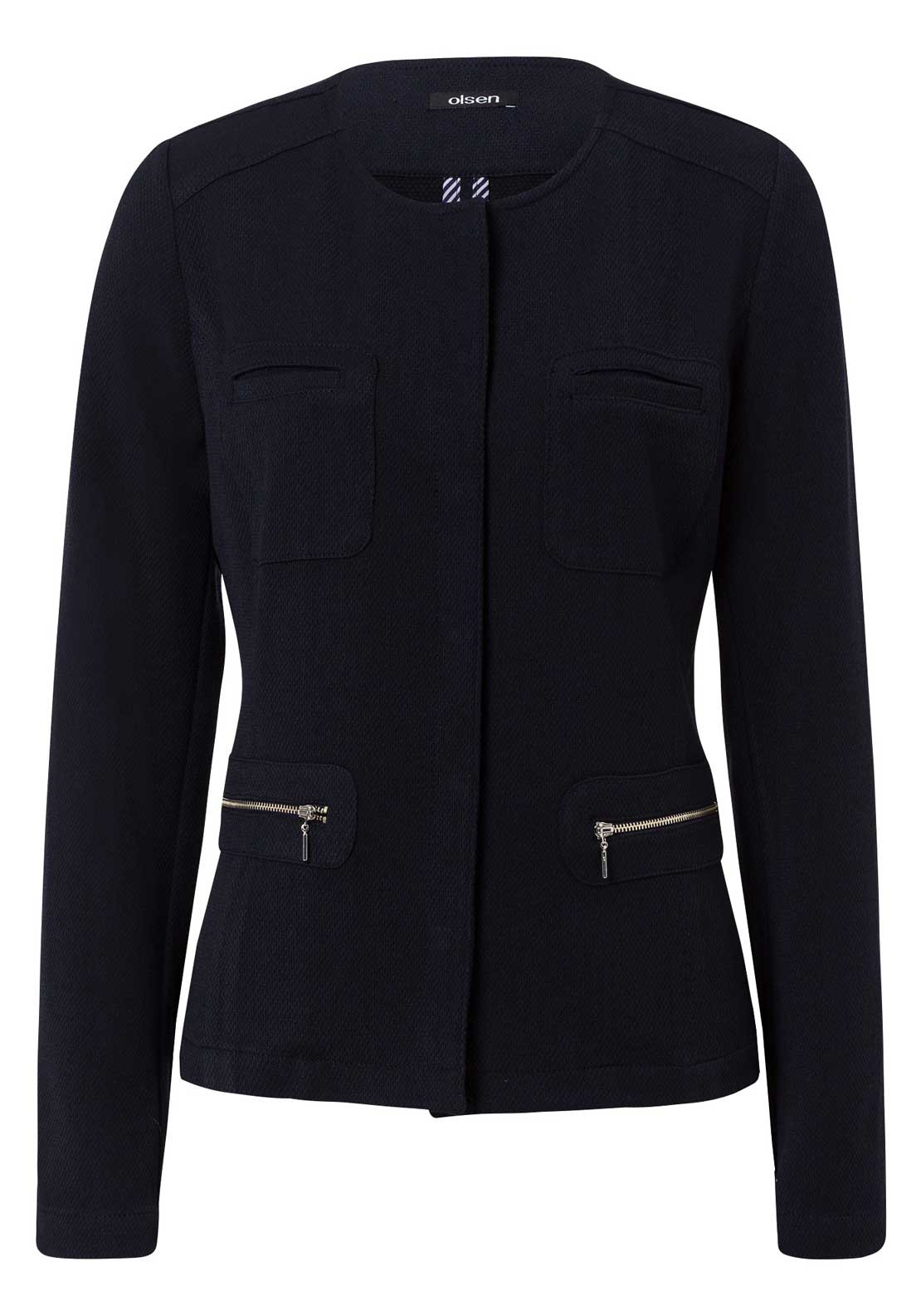 Olsen Long Sleeve Jacket, Navy