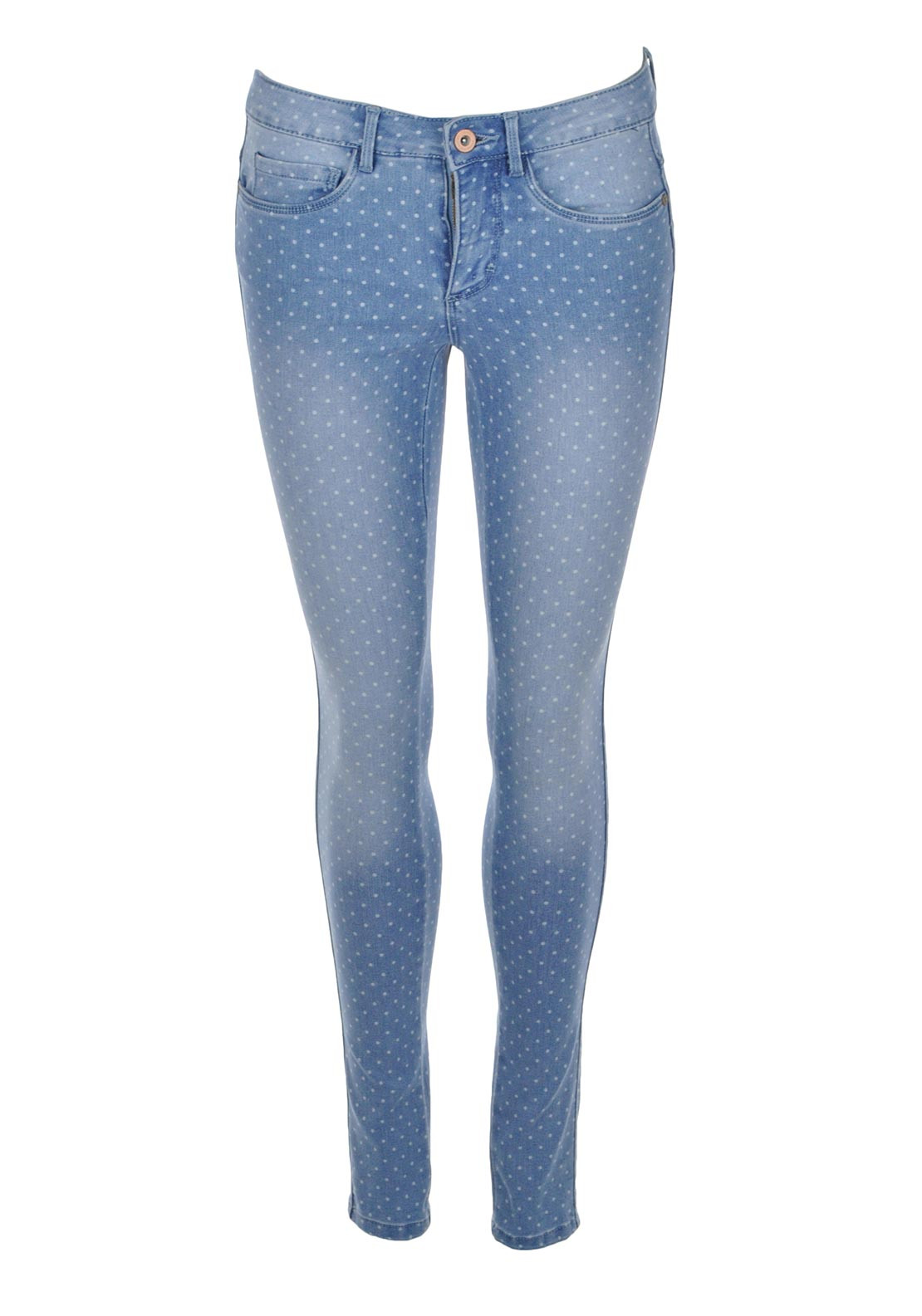 Only Skinny Regular Polka Dot Jeans, Light Blue Denim