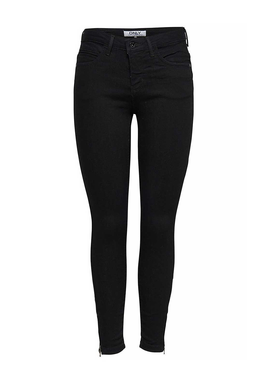 Only Kendell Zip Cuff Skinny Jeans, Black