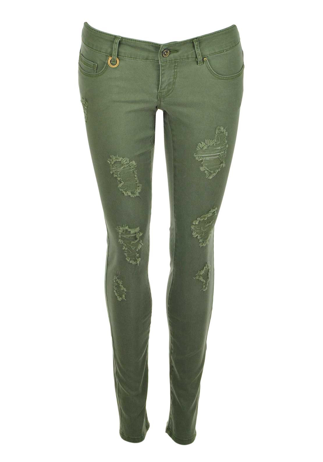 Only Coral Distressed Skinny Jeans, Four Leaf Clover Green