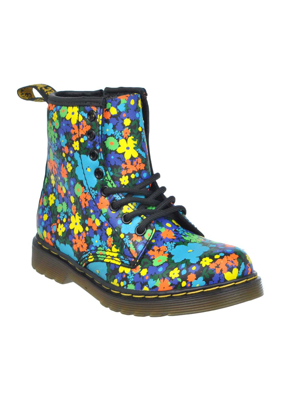 Dr. Martens AirWair Baby Floral Print Leather Boots, Multi-Coloured