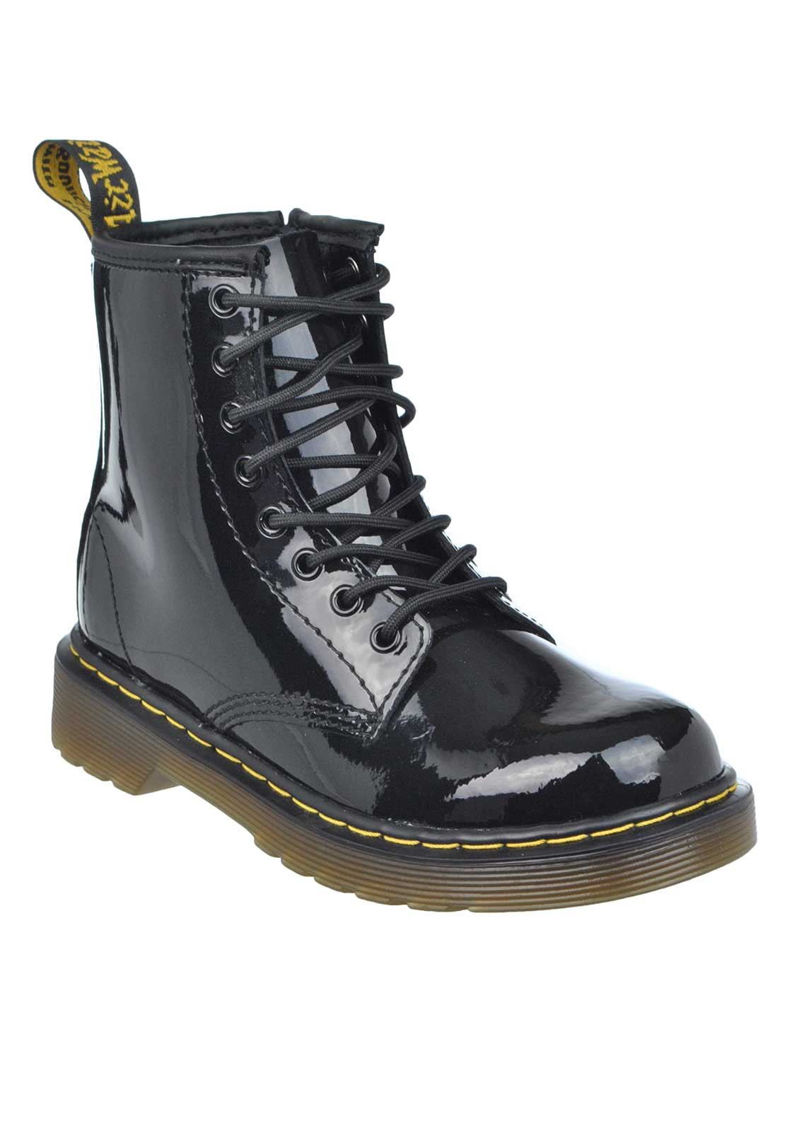 Dr. Martens Airwair Kids Patent Delaney Laced Leather Boots, Black