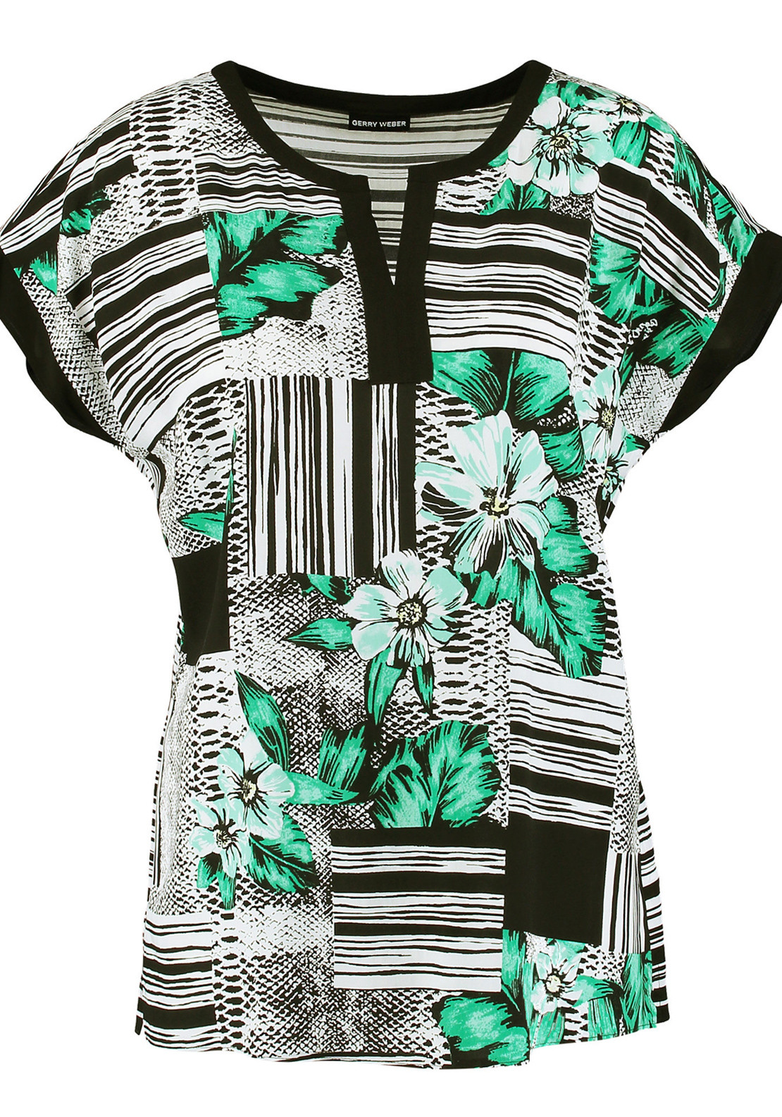 Gerry Weber Floral Print Cap Sleeve Blouse, Multi-Coloured