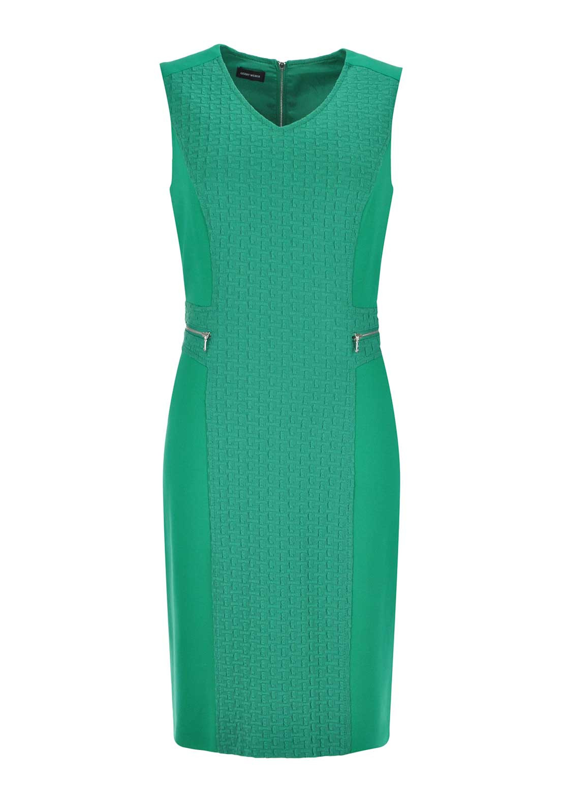 Gerry Weber Textured Panel Jersey Pencil Dress, Green