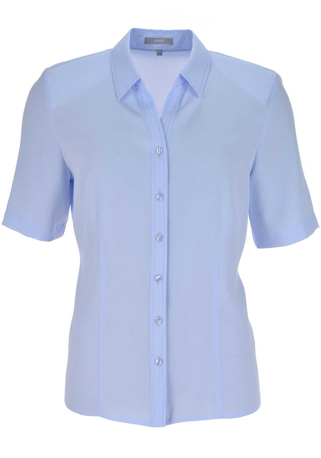 ERFO Textured Short Sleeve V-Neck Blouse, Pale Blue