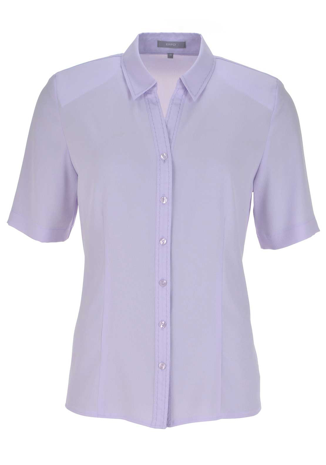 ERFO Textured Short Sleeve V-Neck Blouse, Lilac