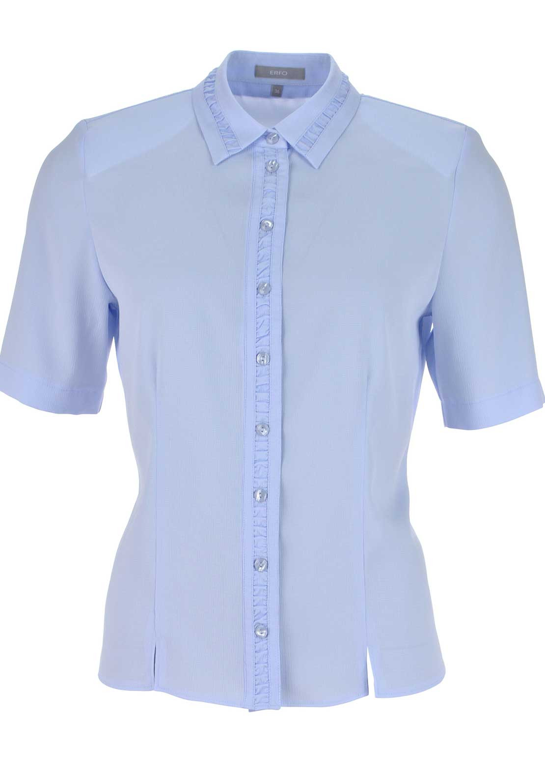 ERFO Textured Short Sleeve Blouse, Pale Blue