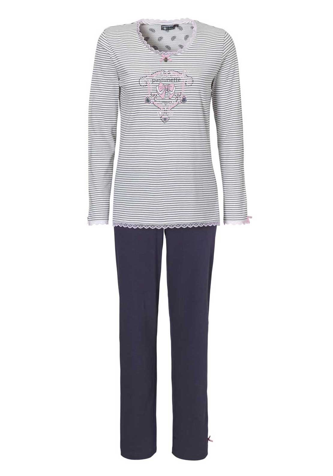 Pastunette Graphic Print Striped Pyjama Set, Purple Multi