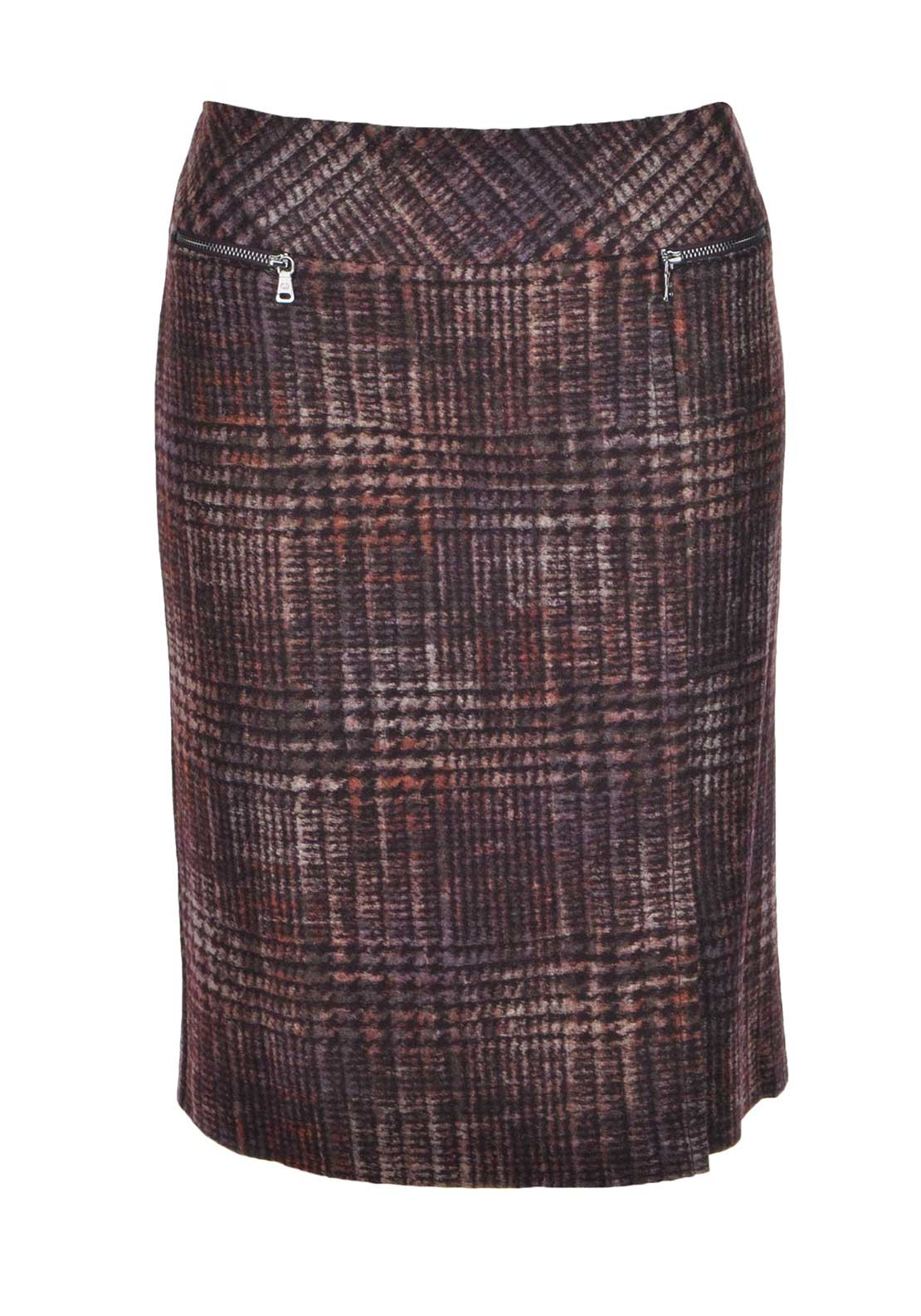 Gerry Weber Tweed Print Pencil Skirt, Wine