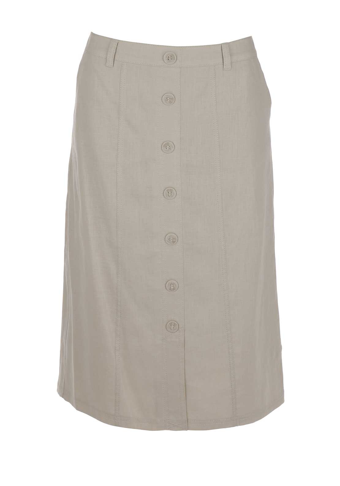 Gerry Weber Straight Linen Midi Skirt, Beige