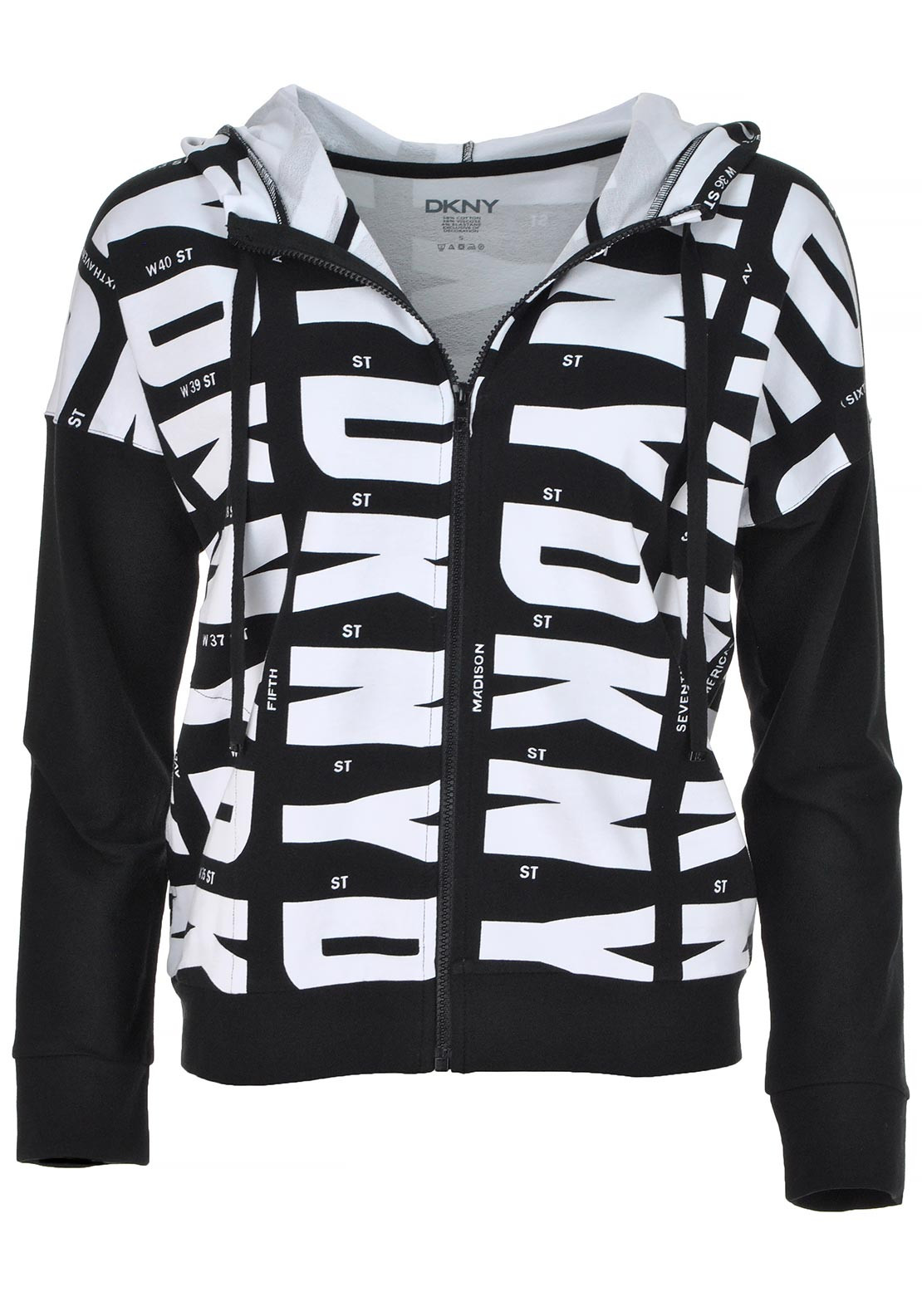 DKNY Womens Long Sleeve Logo Hoody, Black and White