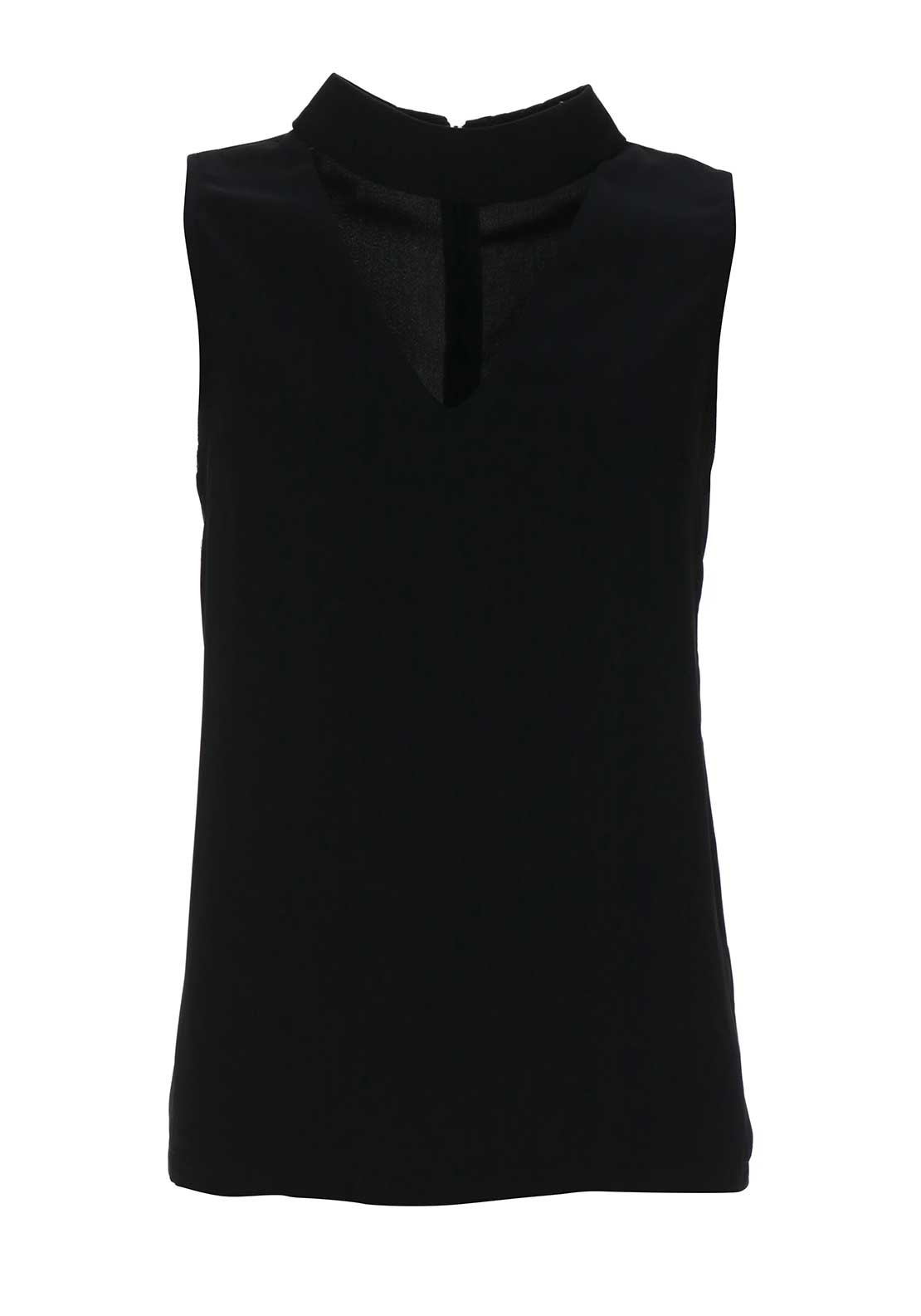 Boutique High Neck V Cut Out Top, Black