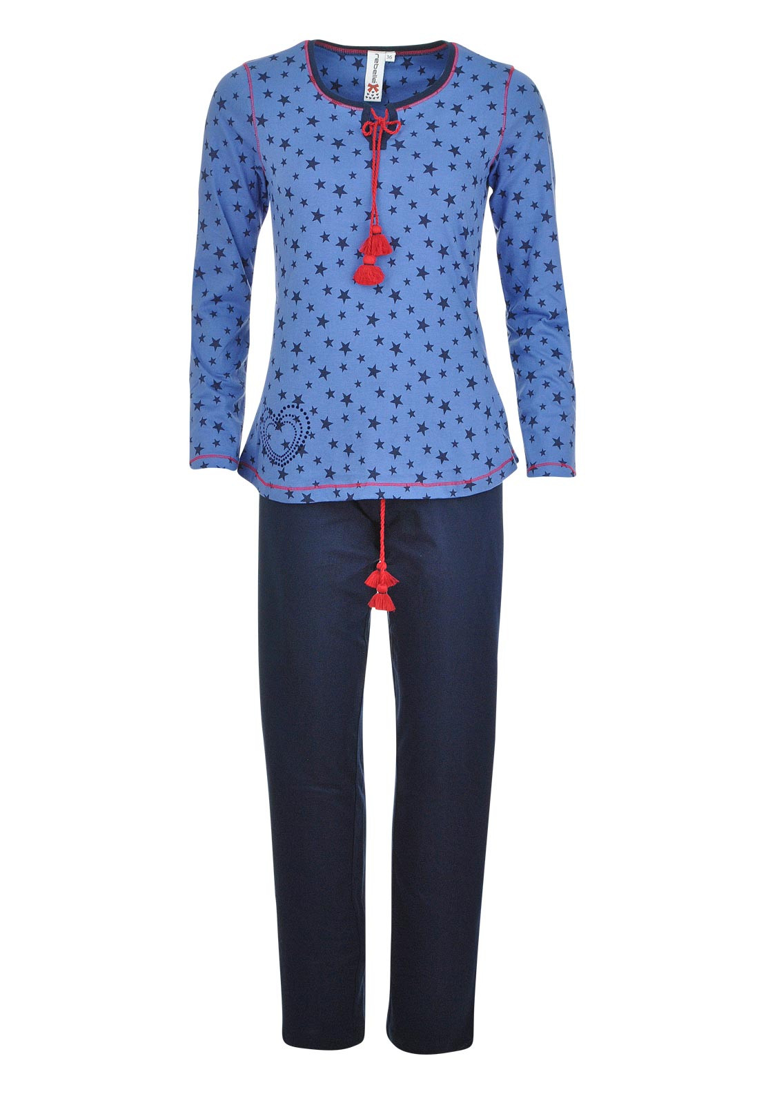 Rebelle Star Print Pyjama Set, Blue