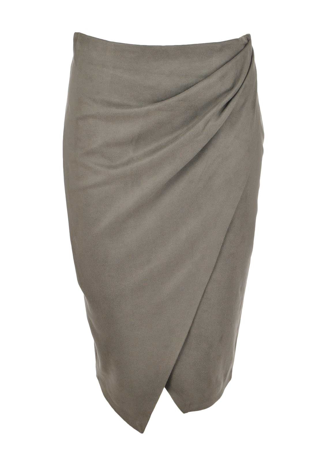 Explosion Faux Suede Wrap Over Pencil Skirt, Mink