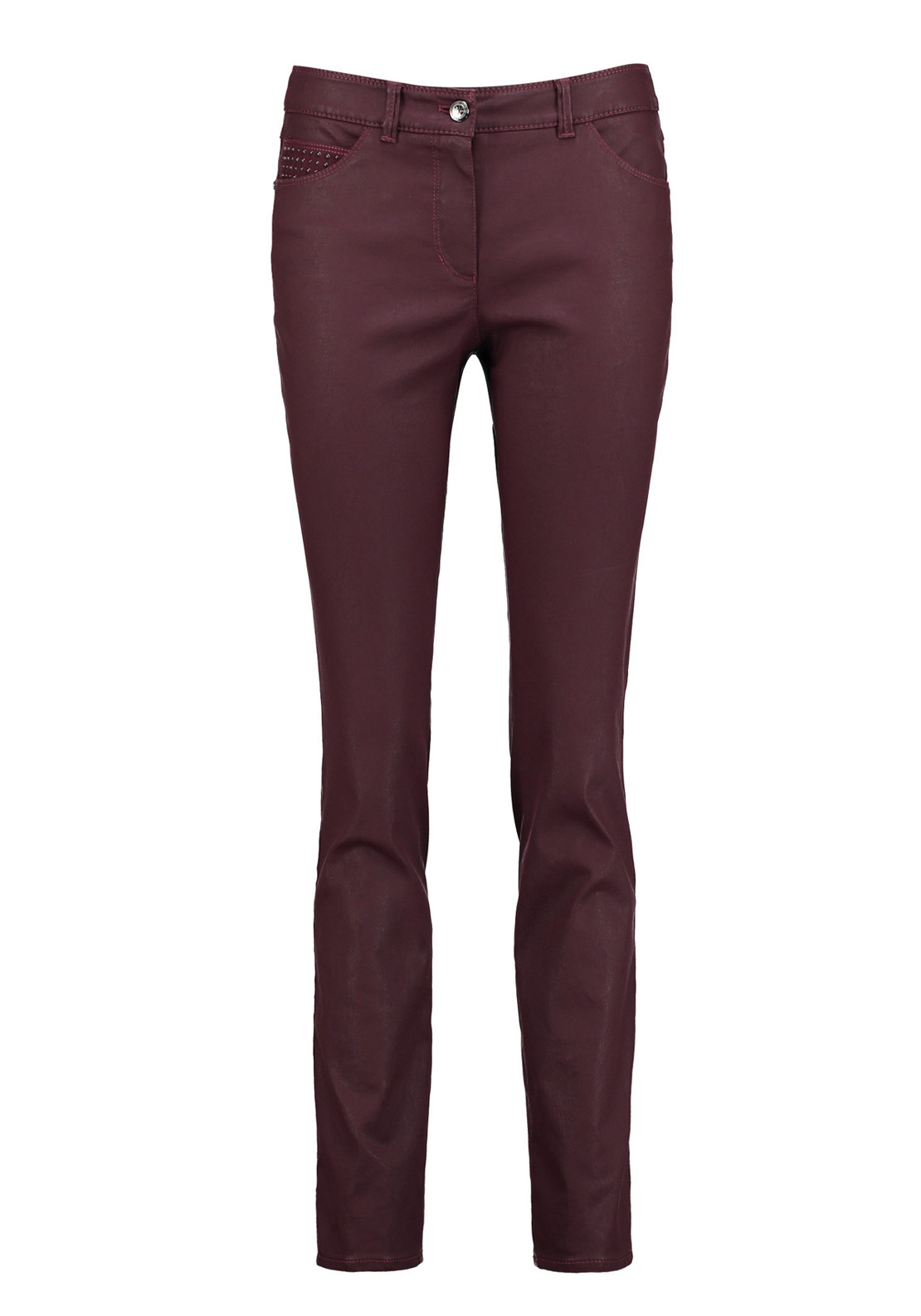 Gerry Weber Coated Straight Leg Jeans, Wine