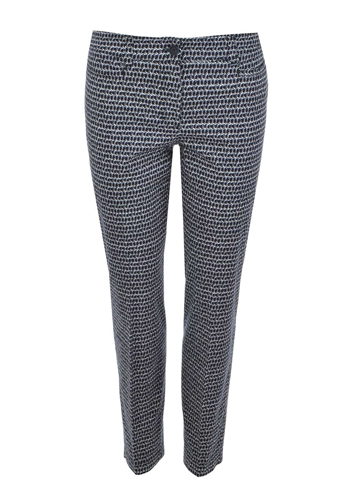 Gerry Weber Geometric Print Slim Leg Trousers, Navy