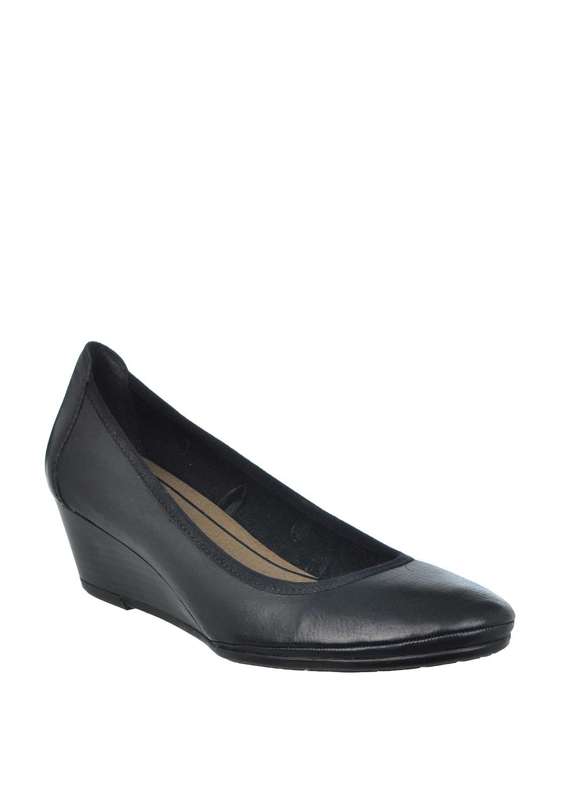 Marco Tozzi Leather Wedged Shoes, Black