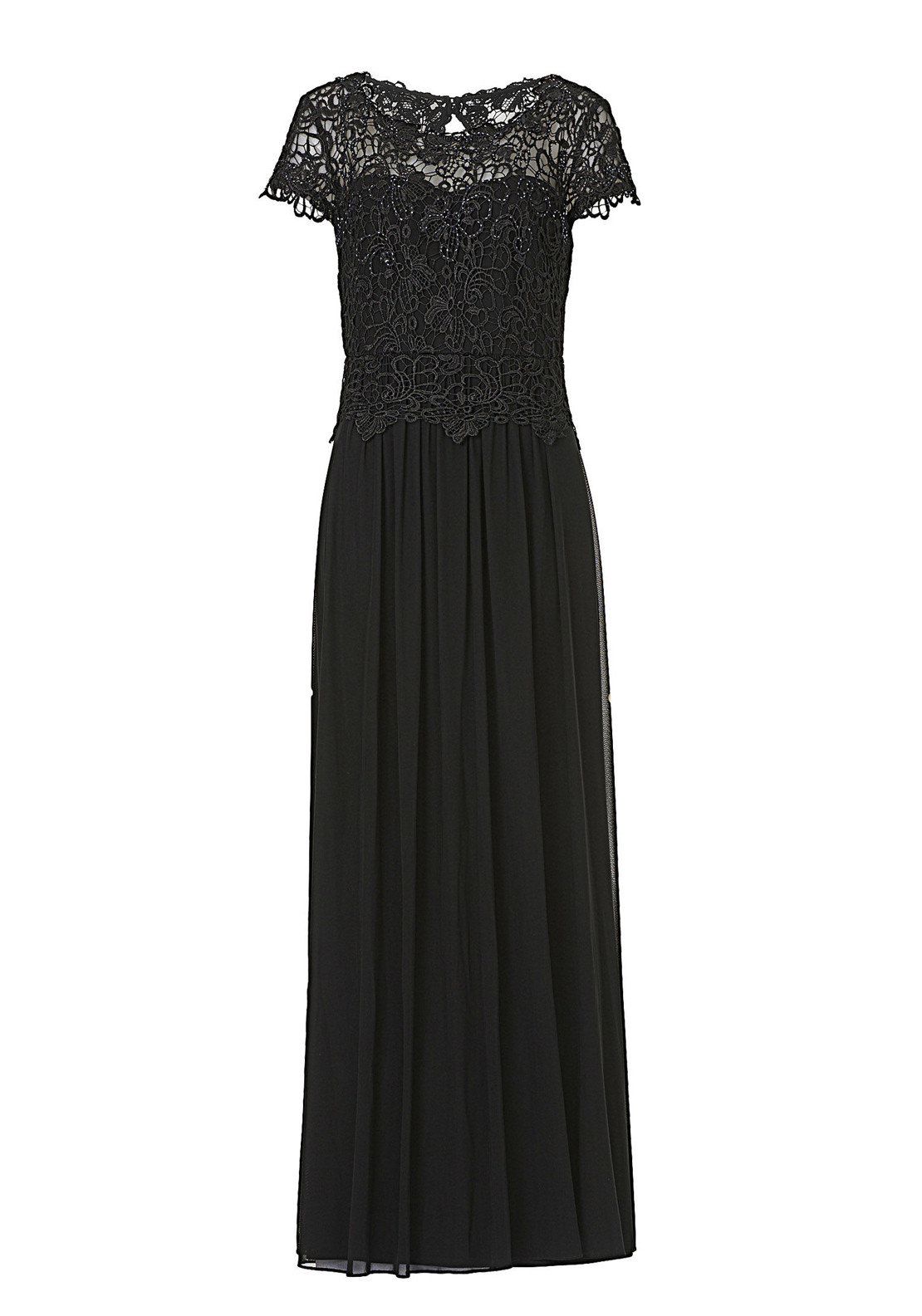 Vera Mont Embellished Lace Overlay Full Length Dress, Black