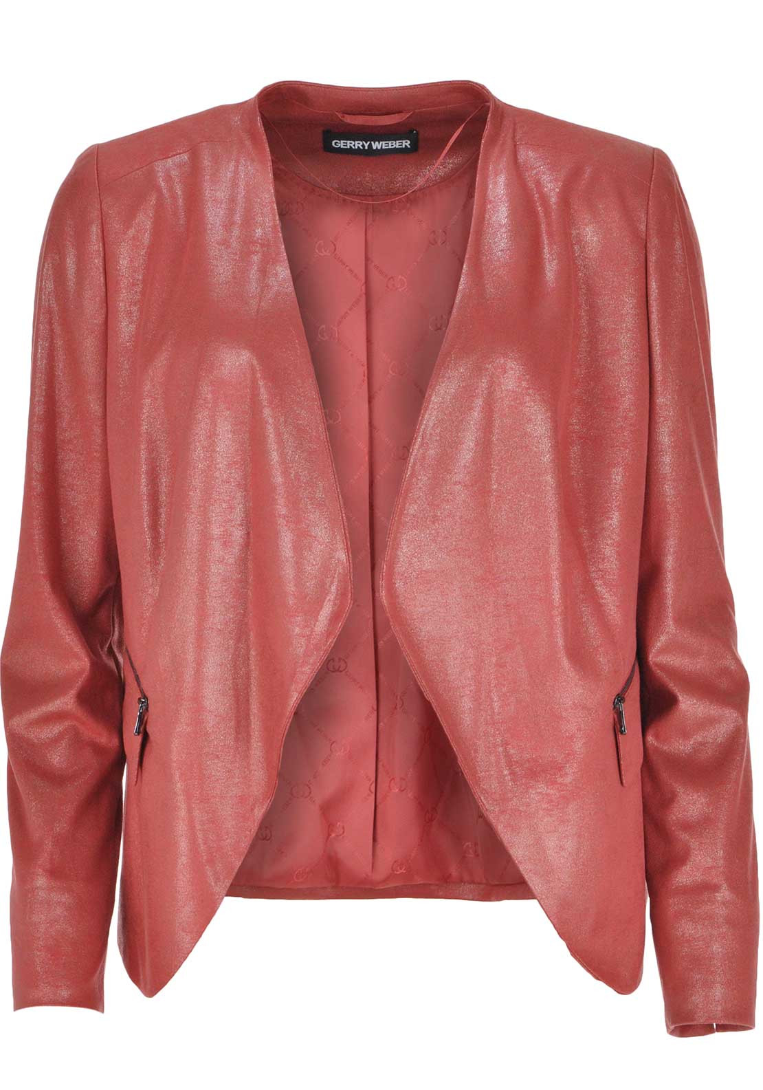 Gerry Weber Leather Look Shimmer Jacket, Coral Pink