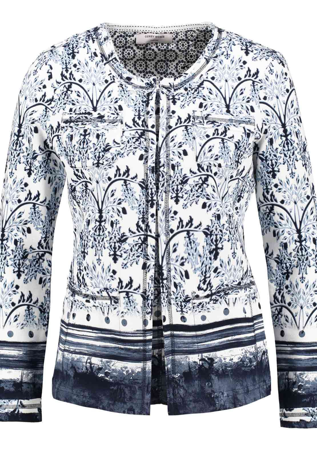 Gerry Weber Paisley Print Long Sleeve Jersey Cardigan, Blue and White